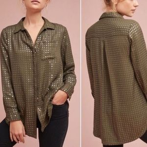 Anthro Maeve Olive Green Sequin Button Down